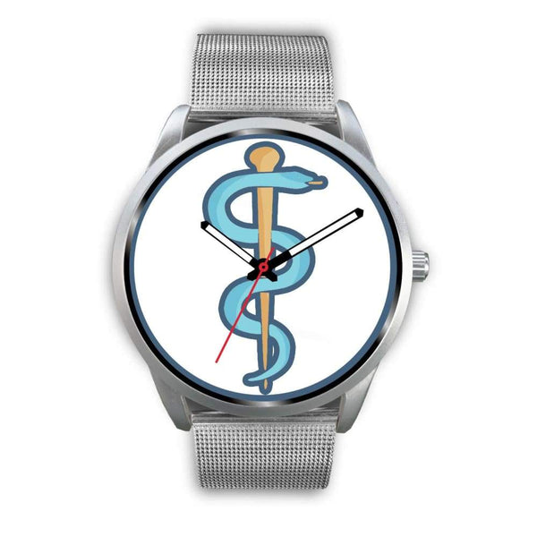 Rod Of Asclepius Ancient Greek Symbol Custom-Designed Wrist Watch - Mens 40Mm / Silver Metal Mesh - Silver Watch