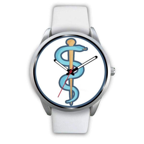 Rod Of Asclepius Ancient Greek Symbol Custom-Designed Wrist Watch - Mens 40Mm / White Leather - Silver Watch