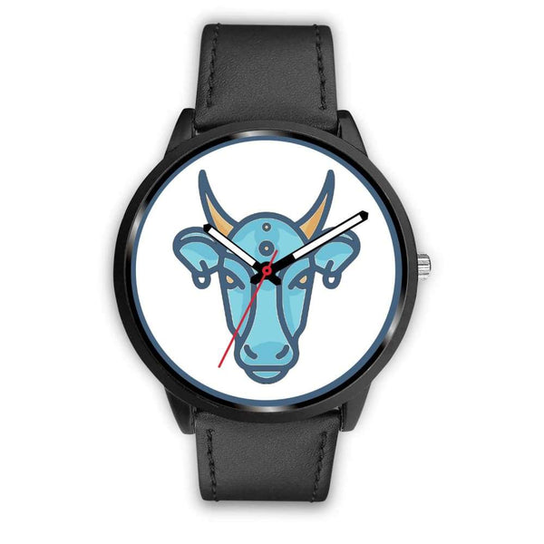 Sacred Cow Hindu Symbol Custom-Designed Wrist Watch - Mens 40Mm / Black Leather - Black Watch