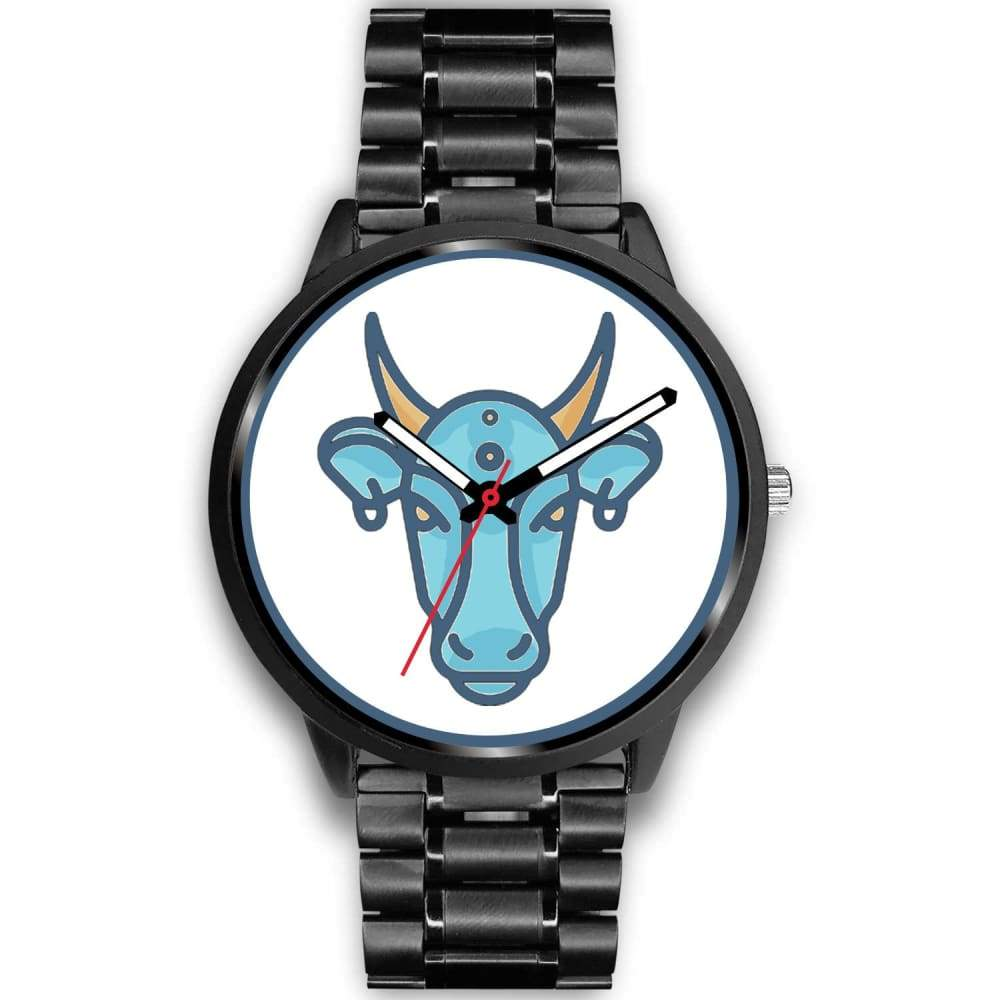 Sacred Cow Hindu Symbol Custom-Designed Wrist Watch - Mens 40Mm / Black Metal Link - Black Watch