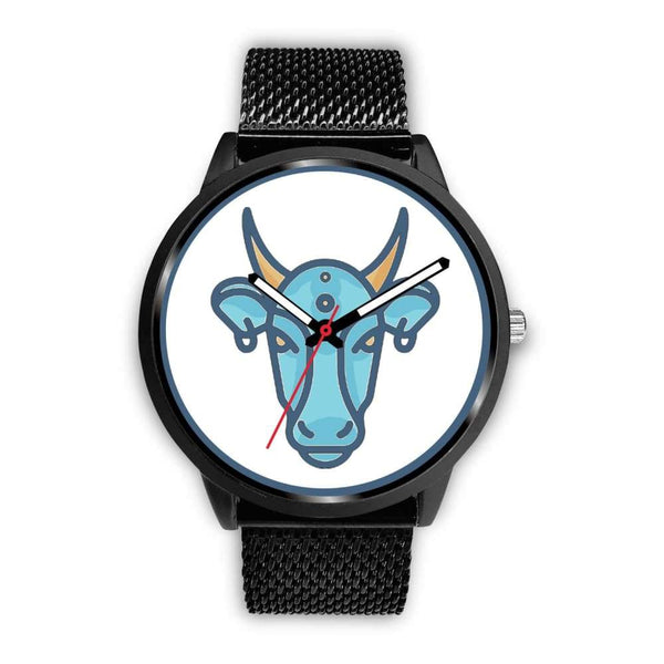 Sacred Cow Hindu Symbol Custom-Designed Wrist Watch - Mens 40Mm / Black Metal Mesh - Black Watch