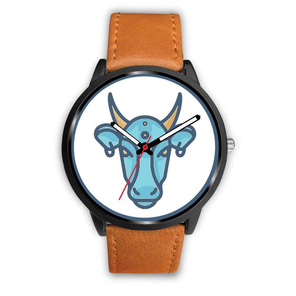 Sacred Cow Hindu Symbol Custom-Designed Wrist Watch - Mens 40Mm / Brown Leather - Black Watch