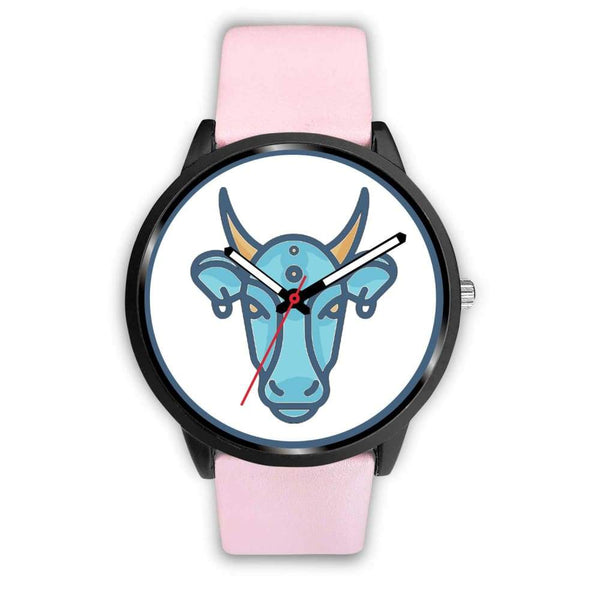Sacred Cow Hindu Symbol Custom-Designed Wrist Watch - Mens 40Mm / Pink Leather - Black Watch