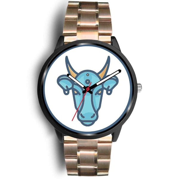 Sacred Cow Hindu Symbol Custom-Designed Wrist Watch - Mens 40Mm / Rose Gold Metal Link - Black Watch
