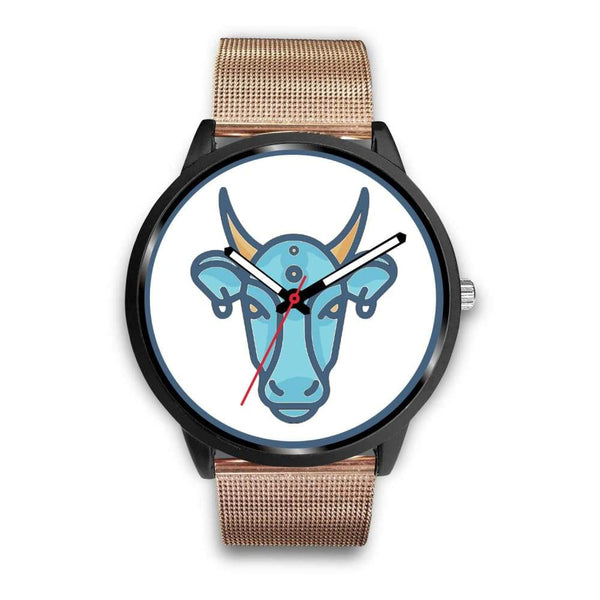 Sacred Cow Hindu Symbol Custom-Designed Wrist Watch - Mens 40Mm / Rose Gold Metal Mesh - Black Watch