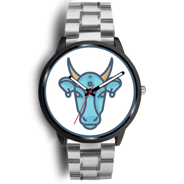 Sacred Cow Hindu Symbol Custom-Designed Wrist Watch - Mens 40Mm / Silver Metal Link - Black Watch
