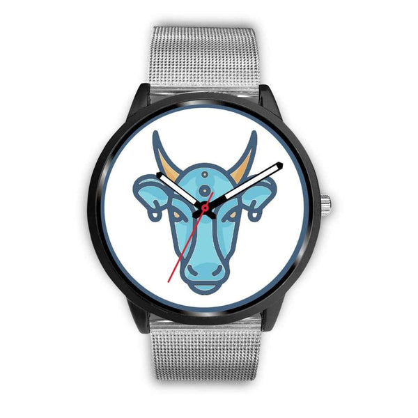 Sacred Cow Hindu Symbol Custom-Designed Wrist Watch - Mens 40Mm / Silver Metal Mesh - Black Watch