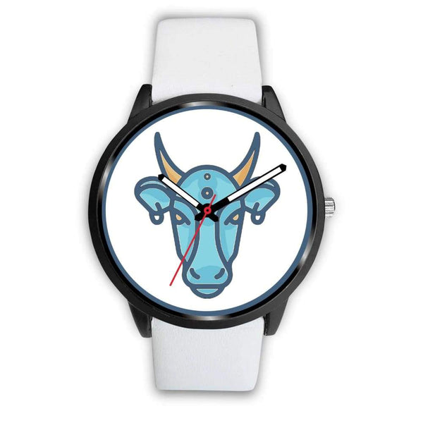 Sacred Cow Hindu Symbol Custom-Designed Wrist Watch - Mens 40Mm / White Leather - Black Watch