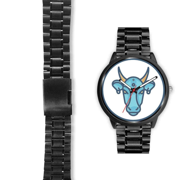 Sacred Cow Hindu Symbol Custom-Designed Wrist Watch - Black Watch