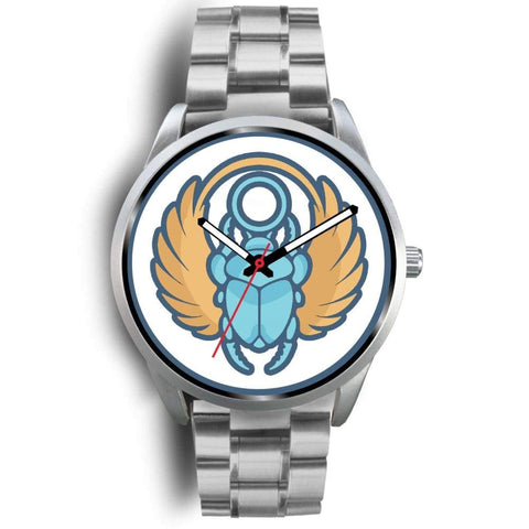 Scarab Beetle Ancient Egyptian Symbol Custom-Designed Wrist Watch - Mens 40Mm / Silver Metal Link - Silver Watch