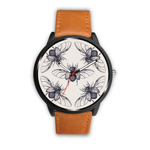 Scarab Beetle Ancient Egyptian Symbol Design Custom-Designed Wrist Watch - Mens 40Mm / Brown - Watch