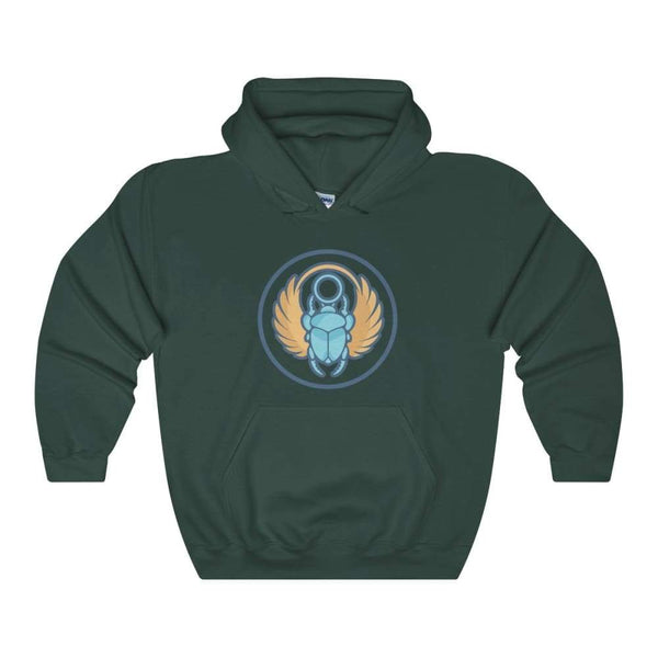 Scarab Beetle Ancient Egyptian Symbol Unisex Heavy Blend Hooded Sweatshirt - Forest Green / S - Hoodie