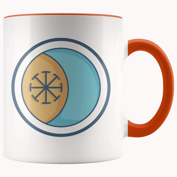 Seax Wicca Spiritual Symbol 11Oz. Ceramic White Mug - Orange - Drinkware