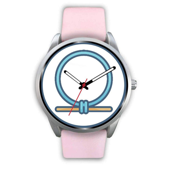 Shen Shenu Ring Ancient Egyptian Symbol Custom-Designed Wrist Watch - Mens 40Mm / Pink Leather - Silver Watch