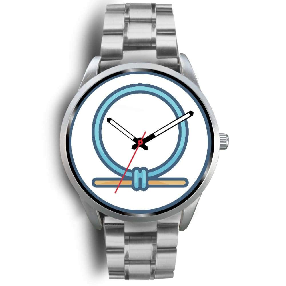 Shen Shenu Ring Ancient Egyptian Symbol Custom-Designed Wrist Watch - Mens 40Mm / Silver Metal Link - Silver Watch