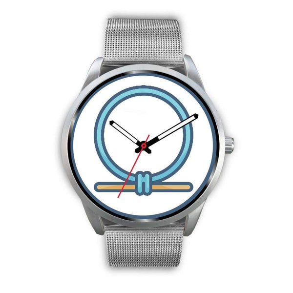 Shen Shenu Ring Ancient Egyptian Symbol Custom-Designed Wrist Watch - Mens 40Mm / Silver Metal Mesh - Silver Watch