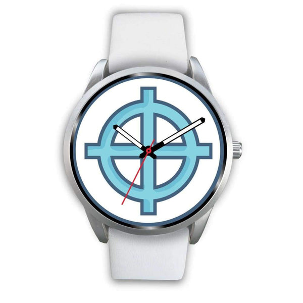 Solar Cross Christian Wiccan Symbol Custom-Designed Wrist Watch - Mens 40Mm / Black Leather - Silver Watch