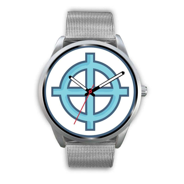 Solar Cross Christian Wiccan Symbol Custom-Designed Wrist Watch - Mens 40Mm / Black Metal Link - Silver Watch