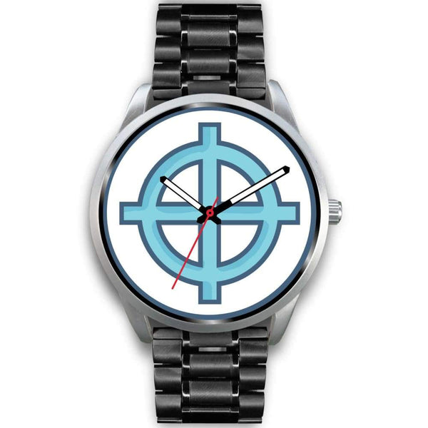 Solar Cross Christian Wiccan Symbol Custom-Designed Wrist Watch - Mens 40Mm / Black Metal Mesh - Silver Watch