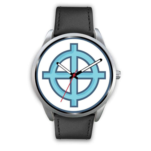 Solar Cross Christian Wiccan Symbol Custom-Designed Wrist Watch - Mens 40Mm / Brown Leather - Silver Watch