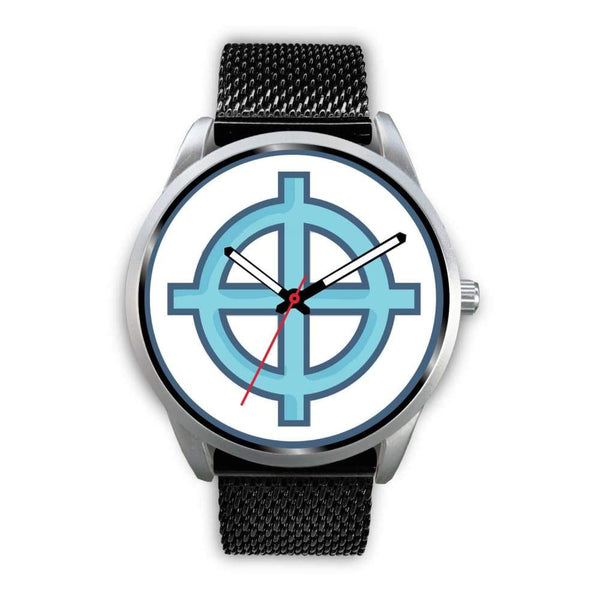 Solar Cross Christian Wiccan Symbol Custom-Designed Wrist Watch - Mens 40Mm / Pink Leather - Silver Watch