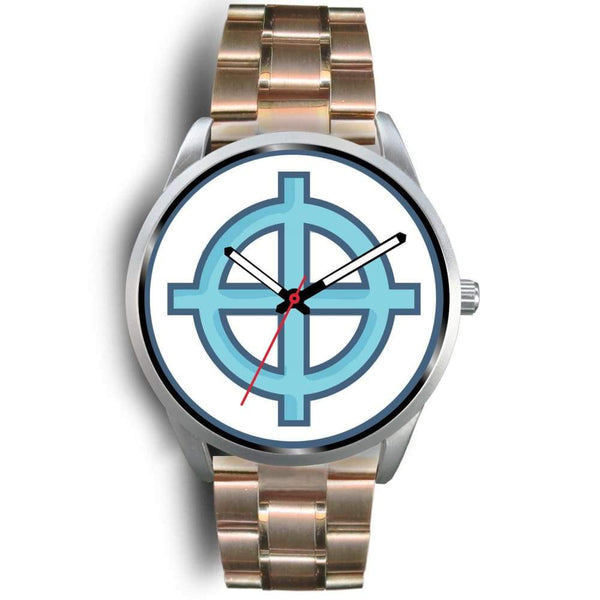 Solar Cross Christian Wiccan Symbol Custom-Designed Wrist Watch - Mens 40Mm / Rose Gold Metal Mesh - Silver Watch