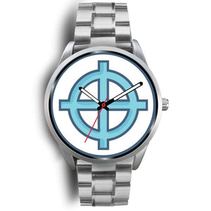 Solar Cross Christian Wiccan Symbol Custom-Designed Wrist Watch - Mens 40Mm / Silver Metal Link - Silver Watch