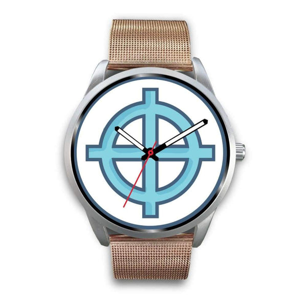Solar Cross Christian Wiccan Symbol Custom-Designed Wrist Watch - Mens 40Mm / Silver Metal Mesh - Silver Watch