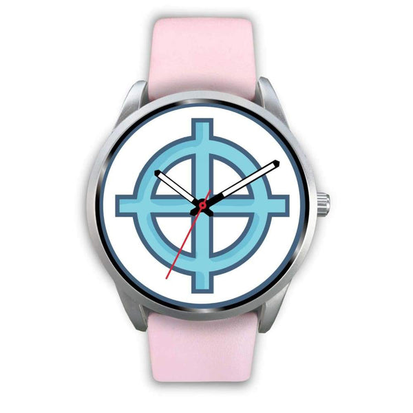 Solar Cross Christian Wiccan Symbol Custom-Designed Wrist Watch - Mens 40Mm / White Leather - Silver Watch