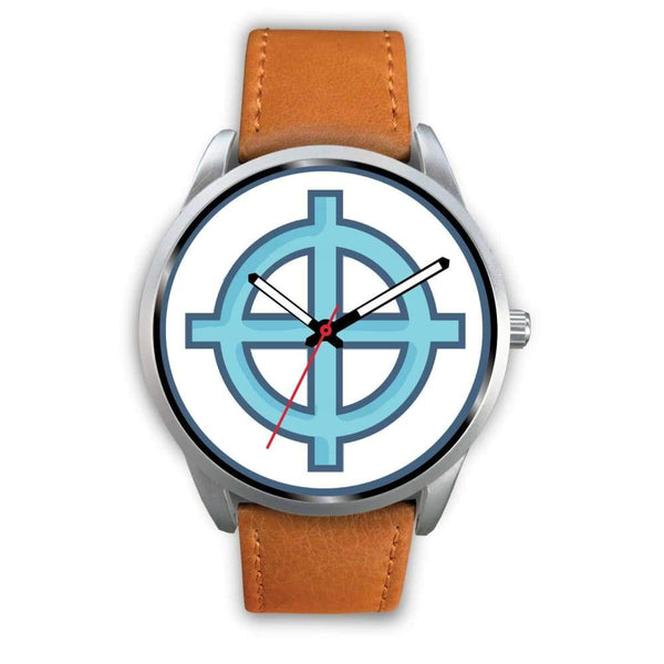 Solar Cross Christian Wiccan Symbol Custom-Designed Wrist Watch - Silver Watch