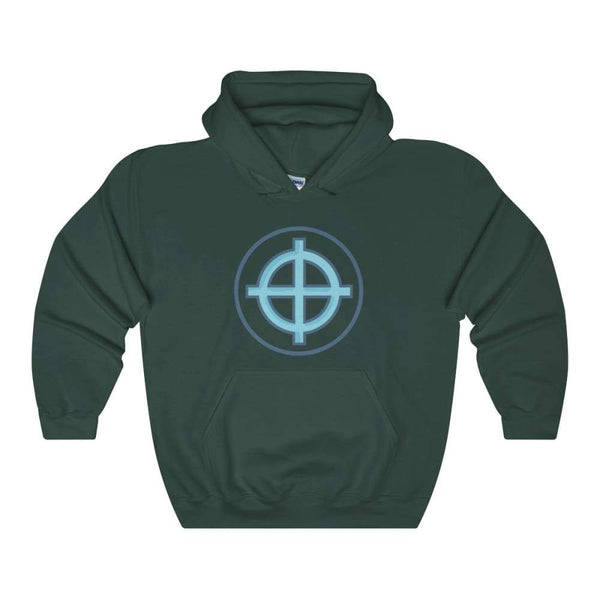 Solar Cross Christian Wiccan Symbol Unisex Heavy Blend Hooded Sweatshirt - Forest Green / S - Hoodie