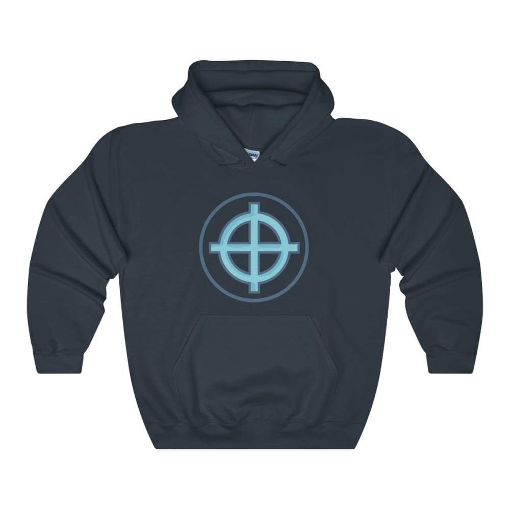 Solar Cross Christian Wiccan Symbol Unisex Heavy Blend Hooded Sweatshirt - Navy / L - Hoodie