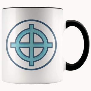 Solar Cross Wiccan Christian Symbol 11Oz. Ceramic White Mug - Black - Drinkware