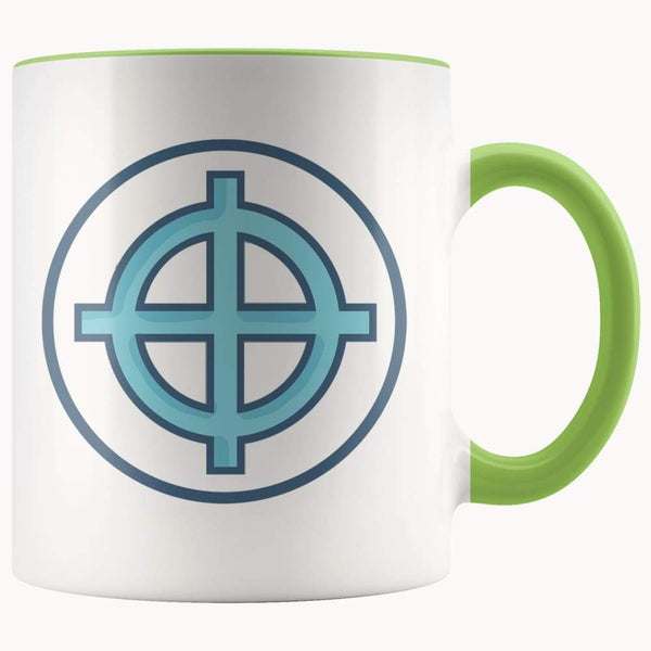 Solar Cross Wiccan Christian Symbol 11Oz. Ceramic White Mug - Green - Drinkware