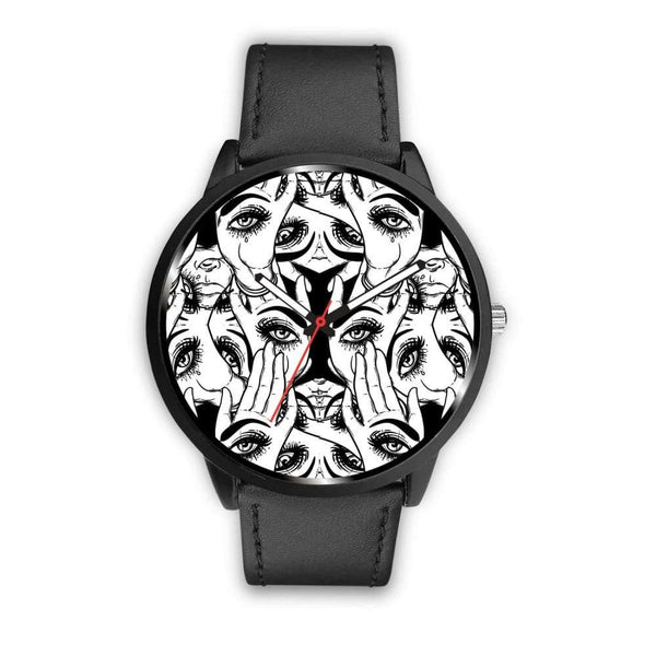 Spiritual All Seeing Eye Buddhist Ancient Egyptian Eye Of Horus Style Custom-Designed Wrist Watch - Mens 40Mm / Black - Watch