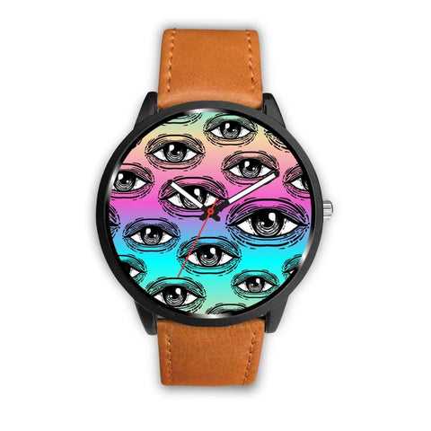 Spiritual All Seeing Eye Buddhist Ancient Egyptian Eye Of Horus Style Custom-Designed Wrist Watch - Mens 40Mm / Brown - Watch