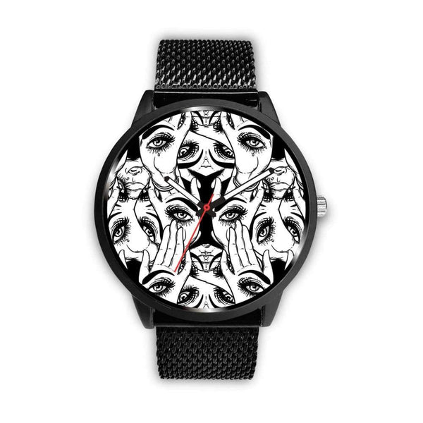Spiritual All Seeing Eye Buddhist Ancient Egyptian Eye Of Horus Style Custom-Designed Wrist Watch - Mens 40Mm / Metal Mesh - Watch