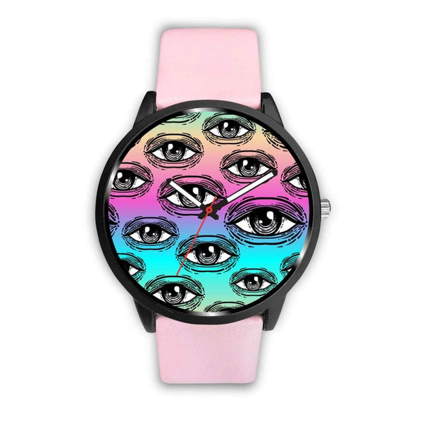 Spiritual All Seeing Eye Buddhist Ancient Egyptian Eye Of Horus Style Custom-Designed Wrist Watch - Mens 40Mm / Pink - Watch