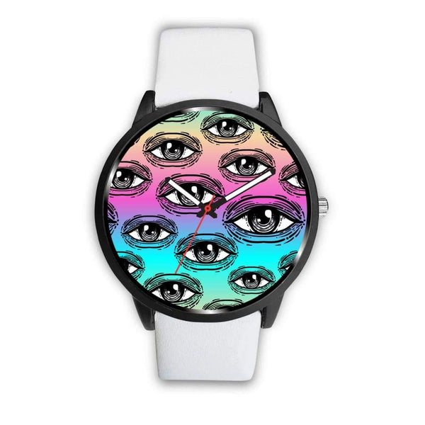 Spiritual All Seeing Eye Buddhist Ancient Egyptian Eye Of Horus Style Custom-Designed Wrist Watch - Mens 40Mm / White - Watch