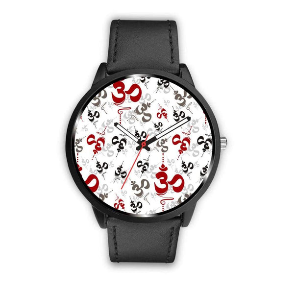 Spiritual Buddhist Om Pattern Yoga Custom-Designed Wrist Watch - Mens 40Mm / Black - Watch