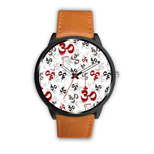 Spiritual Buddhist Om Pattern Yoga Custom-Designed Wrist Watch - Mens 40Mm / Brown - Watch