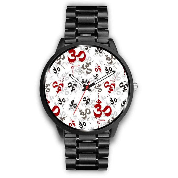 Spiritual Buddhist Om Pattern Yoga Custom-Designed Wrist Watch - Mens 40Mm / Metal Link - Watch