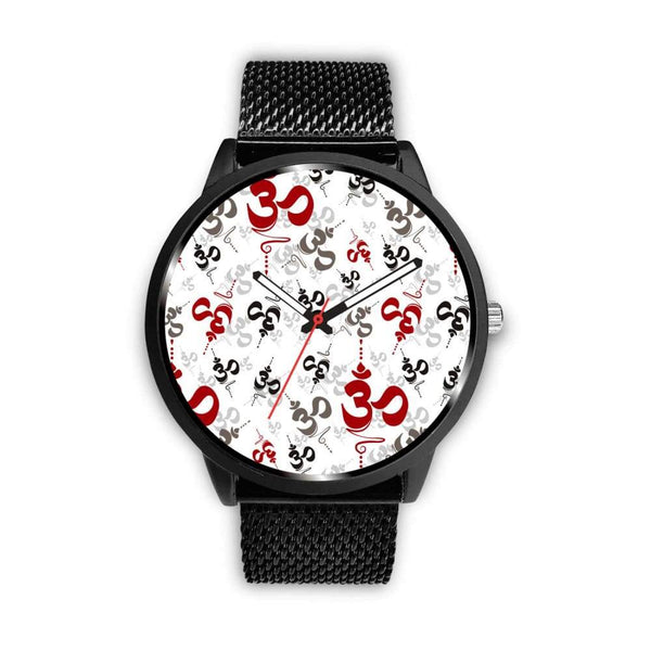 Spiritual Buddhist Om Pattern Yoga Custom-Designed Wrist Watch - Mens 40Mm / Metal Mesh - Watch