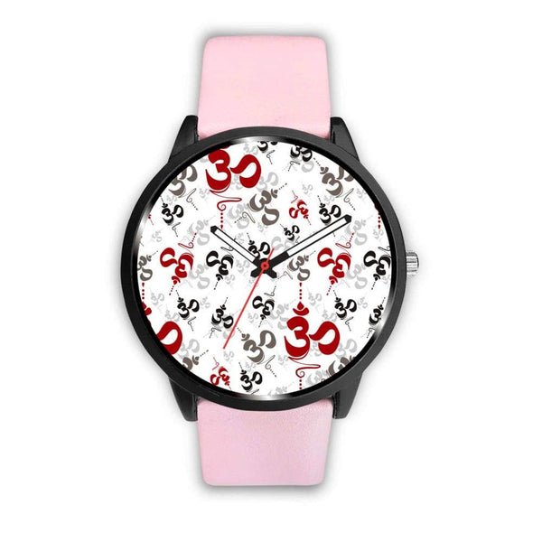 Spiritual Buddhist Om Pattern Yoga Custom-Designed Wrist Watch - Mens 40Mm / Pink - Watch