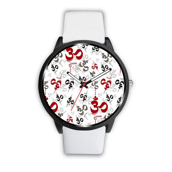 Spiritual Buddhist Om Pattern Yoga Custom-Designed Wrist Watch - Mens 40Mm / White - Watch