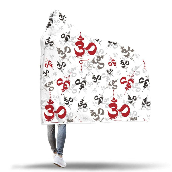 Spiritual Buddhist Om Pattern Yoga Hooded Snuggle Meditation Blanket - Hooded Blanket