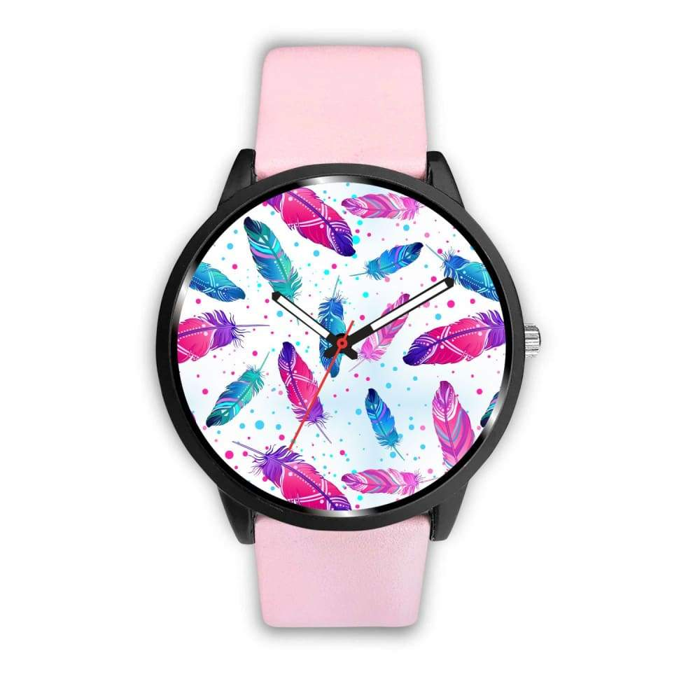 Spiritual Dove Angel Feather Custom Design Wrist Watch. - Mens 40Mm / Pink - Watch