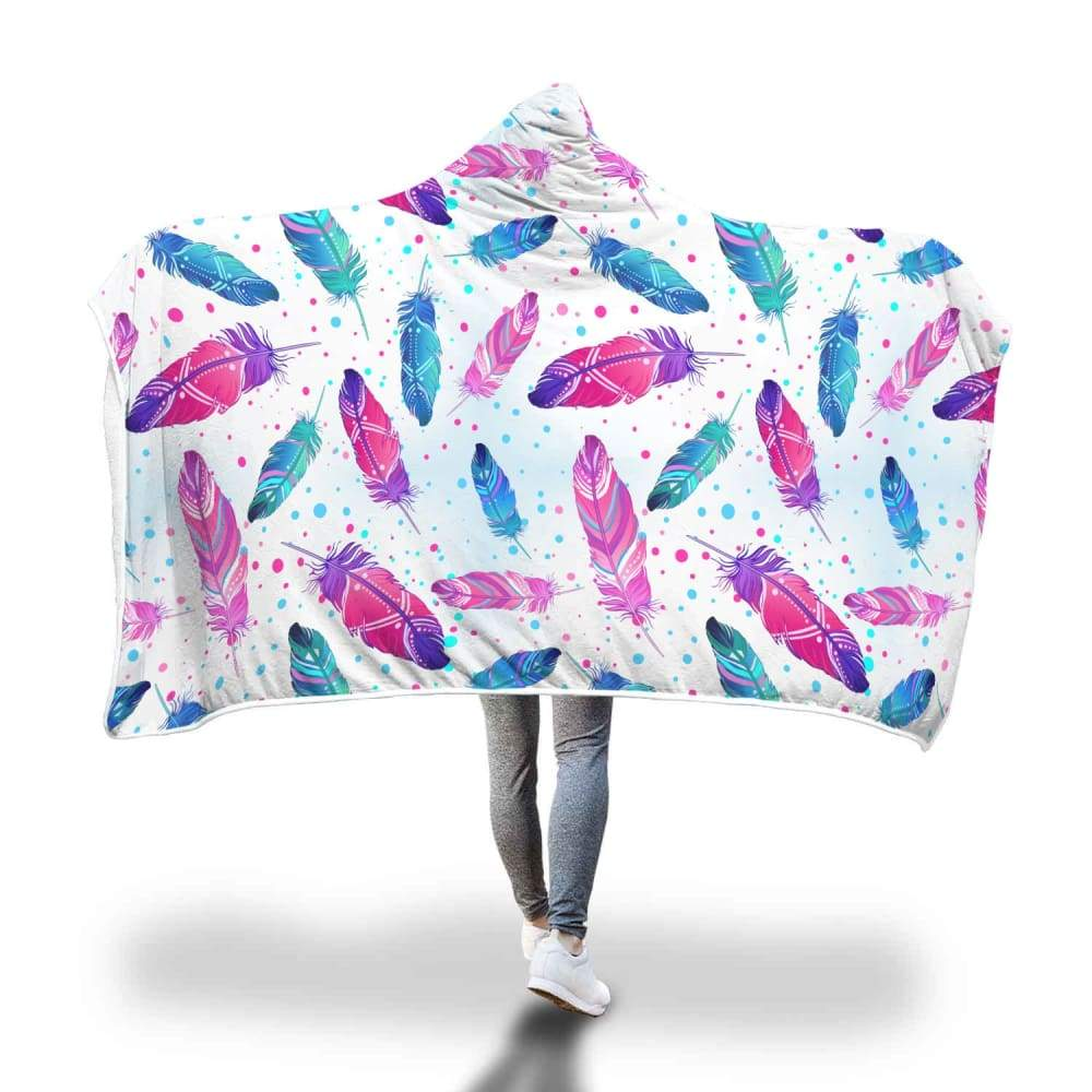 Spiritual Dove Angel Feather Design Hooded Snuggle Meditation Blanket - Hooded Blanket