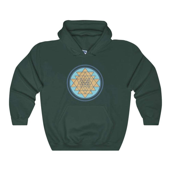 Sri Yantra Hindu Geometric Spiritual Symbol Unisex Heavy Blend Hooded Sweatshirt - Forest Green / S - Hoodie