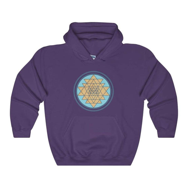 Sri Yantra Hindu Geometric Spiritual Symbol Unisex Heavy Blend Hooded Sweatshirt - Purple / S - Hoodie